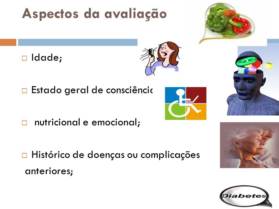 Aspectos da avaliação Idade; Estado geral de consciência, nutricional e emocional; Histórico de doenças ou complicações anteriores;
