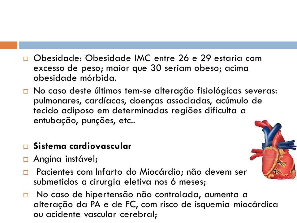 Obesidade: Obesidade IMC entre 26 e 29 estaria com excesso de peso; maior que 30 seriam obeso; acima obesidade mórbida. No caso deste últimos tem-se a