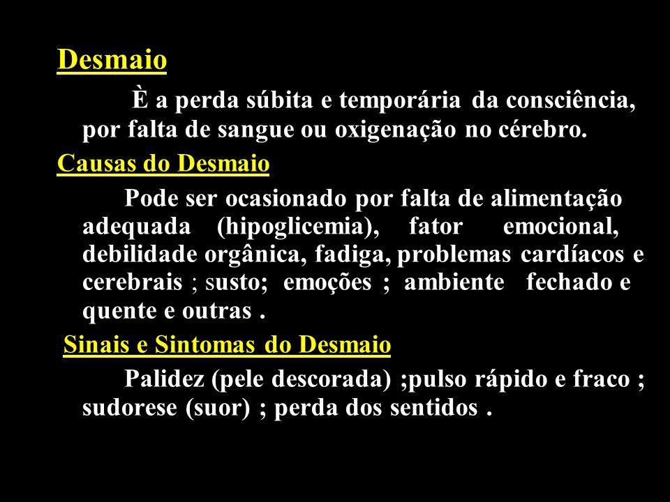 Conduta do Socorrista em caso de Desmaio - Verificar consciência, respiração e pulso; - Manter o ambiente ventilado; - Afrouxar as roupas do tórax e abdome; - Elevar membros inferiores da vítima, até que a vítima volte ao normal.