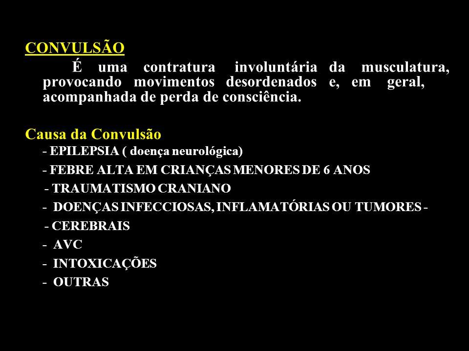 CONVULSÃO É uma contratura involuntária da musculatura, provocando movimentos desordenados e, em geral, acompanhada de perda de consciência. Causa da
