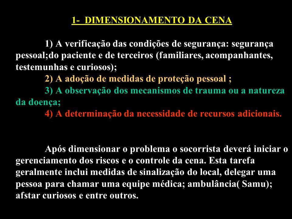 1- DIMENSIONAMENTO DA CENA 1) A verificação das condições de segurança: segurança pessoal;do paciente e de terceiros (familiares, acompanhantes, teste