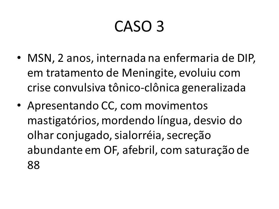 CASO 3 MSN, 2 anos, internada na enfermaria de DIP, em tratamento de Meningite, evoluiu com crise convulsiva tônico-clônica generalizada Apresentando