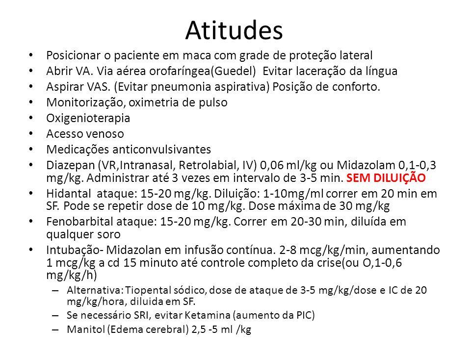 Atitudes Posicionar o paciente em maca com grade de proteção lateral Abrir VA. Via aérea orofaríngea(Guedel) Evitar laceração da língua Aspirar VAS. (