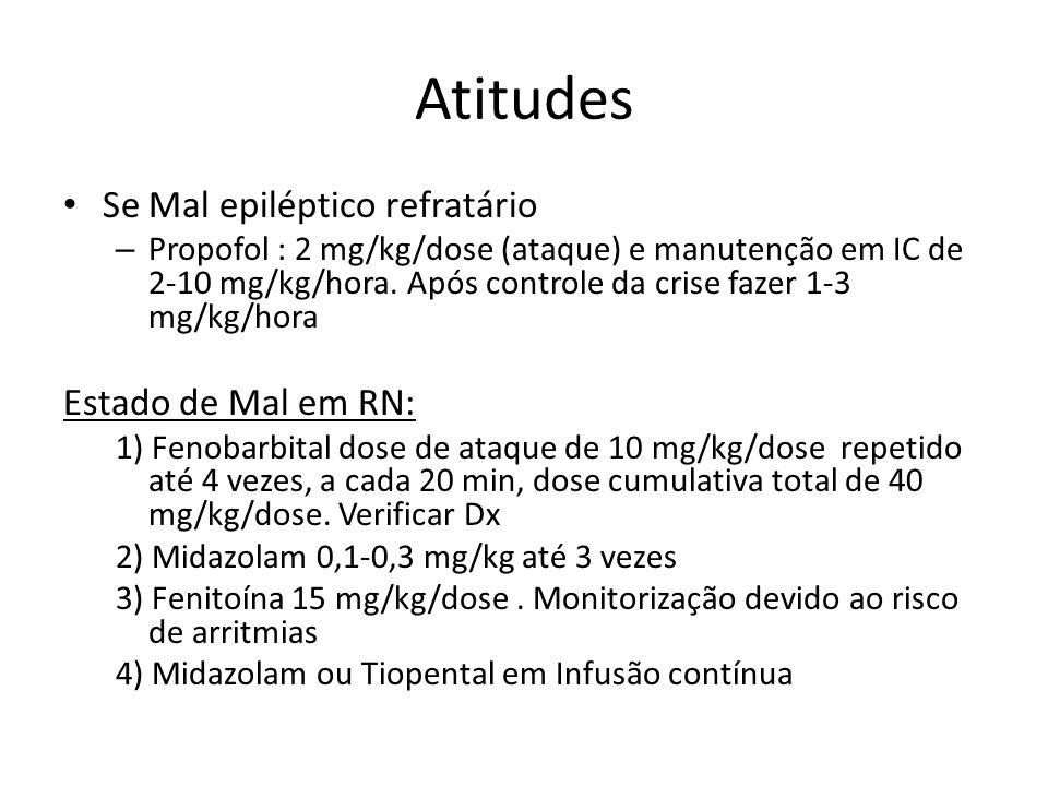 Atitudes Se Mal epiléptico refratário – Propofol : 2 mg/kg/dose (ataque) e manutenção em IC de 2-10 mg/kg/hora. Após controle da crise fazer 1-3 mg/kg