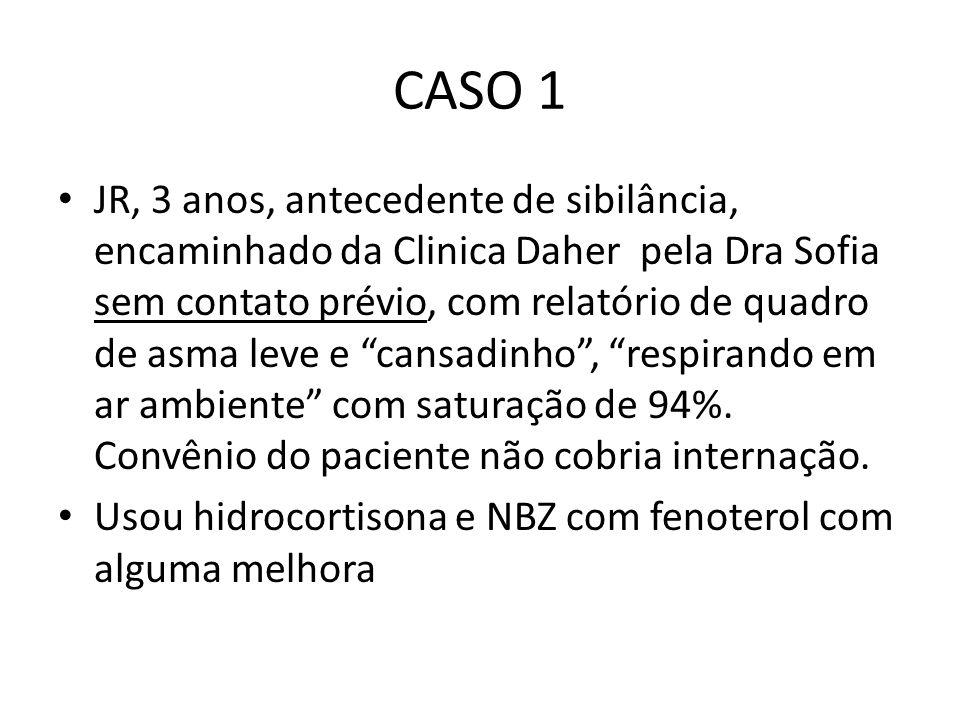 CASO 1 JR, 3 anos, antecedente de sibilância, encaminhado da Clinica Daher pela Dra Sofia sem contato prévio, com relatório de quadro de asma leve e c