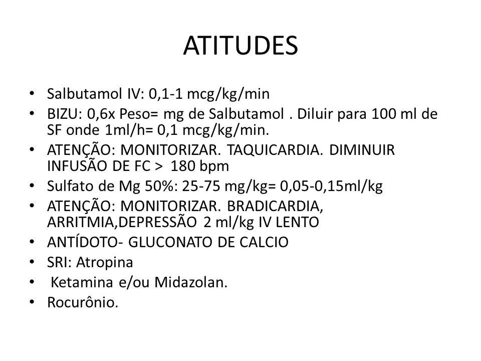 ATITUDES Salbutamol IV: 0,1-1 mcg/kg/min BIZU: 0,6x Peso= mg de Salbutamol. Diluir para 100 ml de SF onde 1ml/h= 0,1 mcg/kg/min. ATENÇÃO: MONITORIZAR.