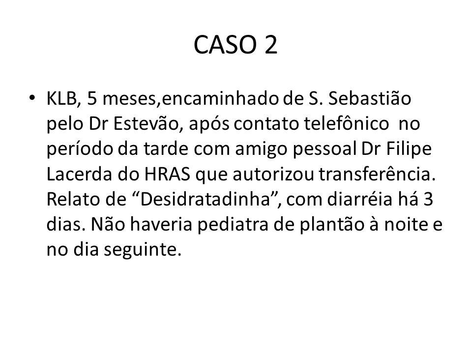CASO 2 KLB, 5 meses,encaminhado de S. Sebastião pelo Dr Estevão, após contato telefônico no período da tarde com amigo pessoal Dr Filipe Lacerda do HR