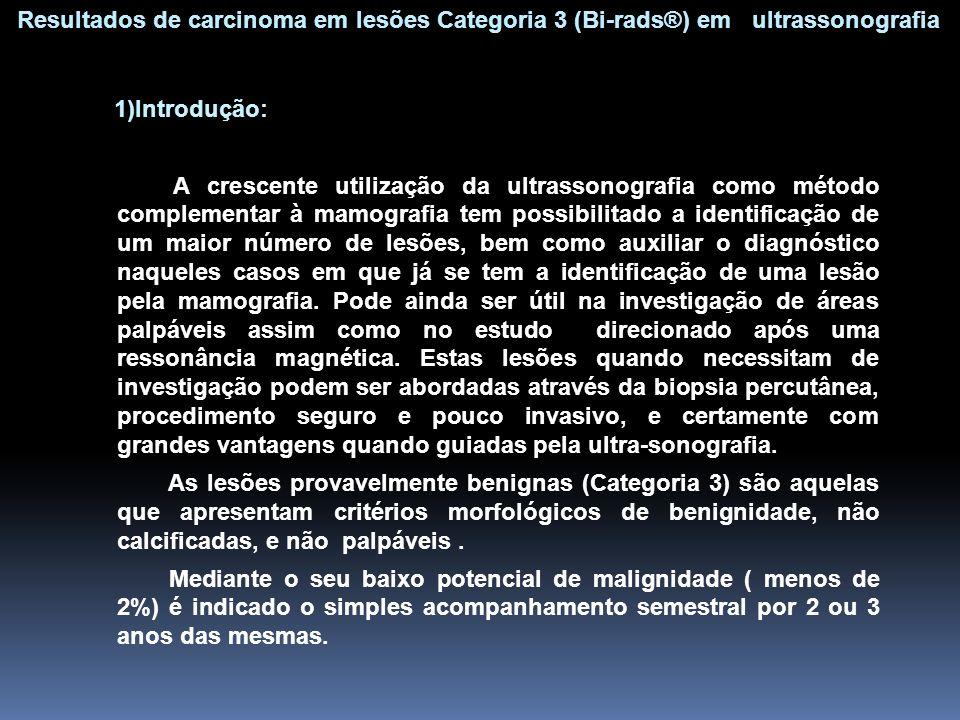1)Introdução: A crescente utilização da ultrassonografia como método complementar à mamografia tem possibilitado a identificação de um maior número de