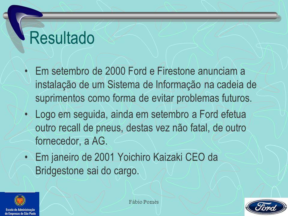 Fábio Pomès Resultado Em setembro de 2000 Ford e Firestone anunciam a instalação de um Sistema de Informação na cadeia de suprimentos como forma de ev