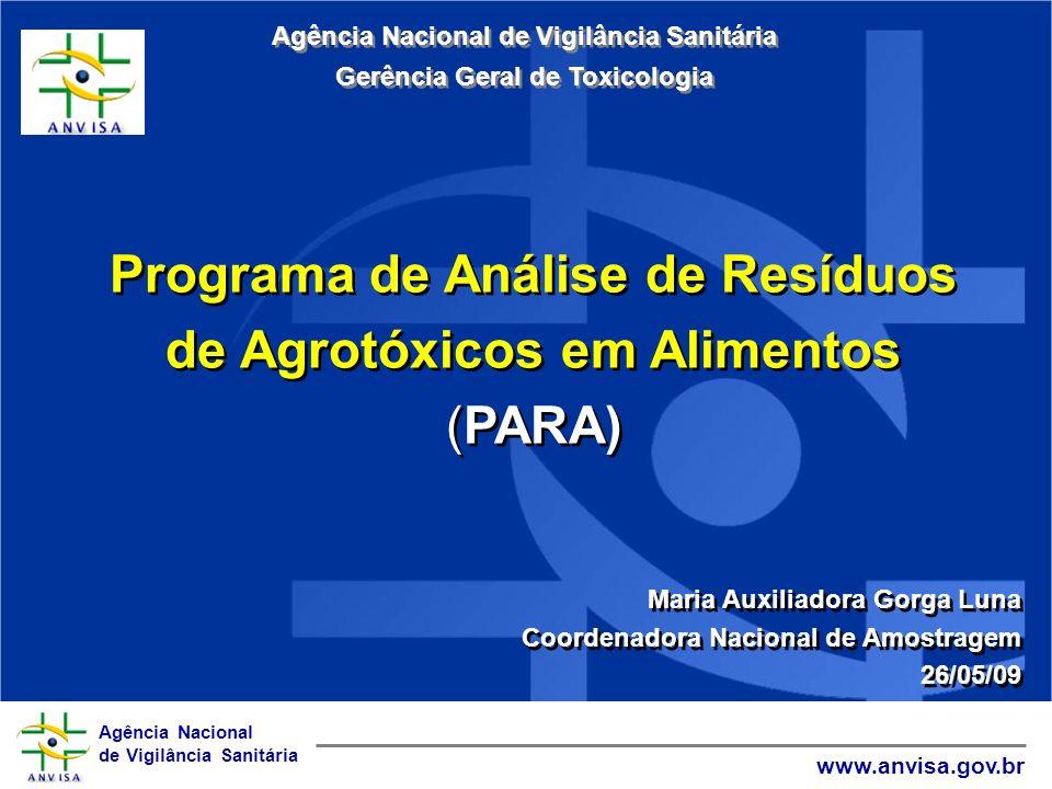 Agência Nacional de Vigilância Sanitária www.anvisa.gov.br Programa de Análise de Resíduos de Agrotóxicos em Alimentos (PARA) Maria Auxiliadora Gorga