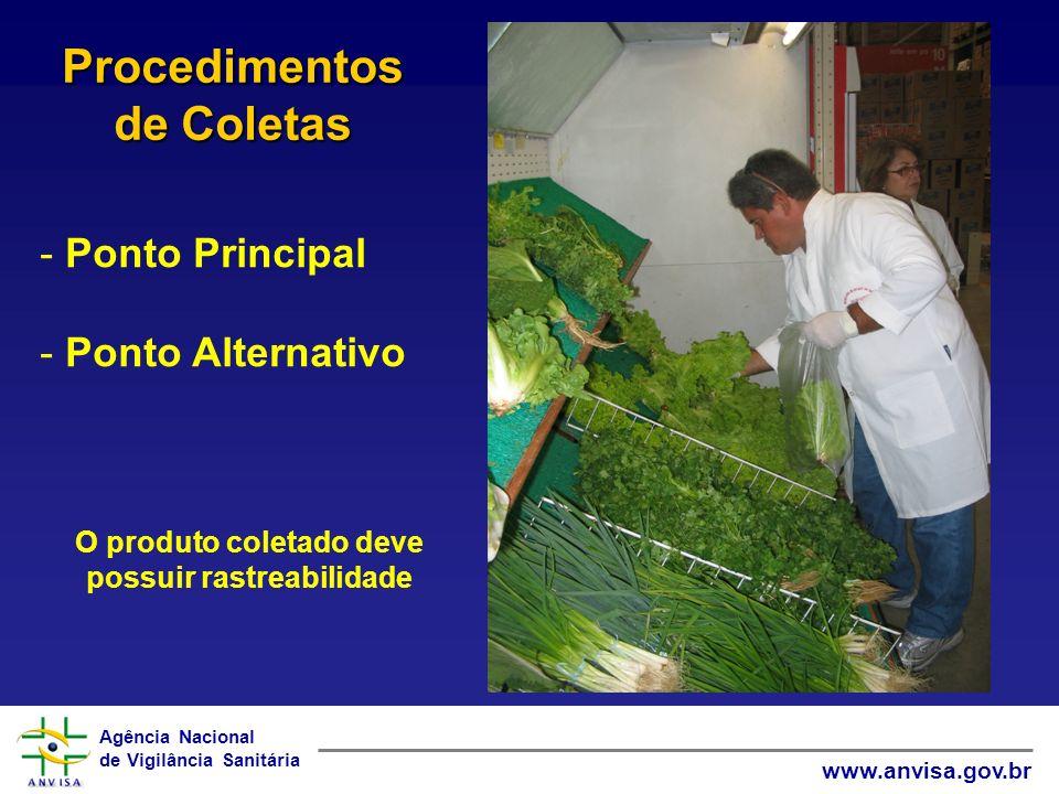 Agência Nacional de Vigilância Sanitária www.anvisa.gov.br - Ponto Principal - Ponto Alternativo Procedimentos de Coletas O produto coletado deve poss