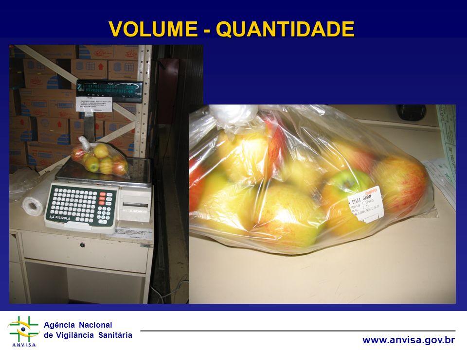 Agência Nacional de Vigilância Sanitária www.anvisa.gov.br VOLUME - QUANTIDADE
