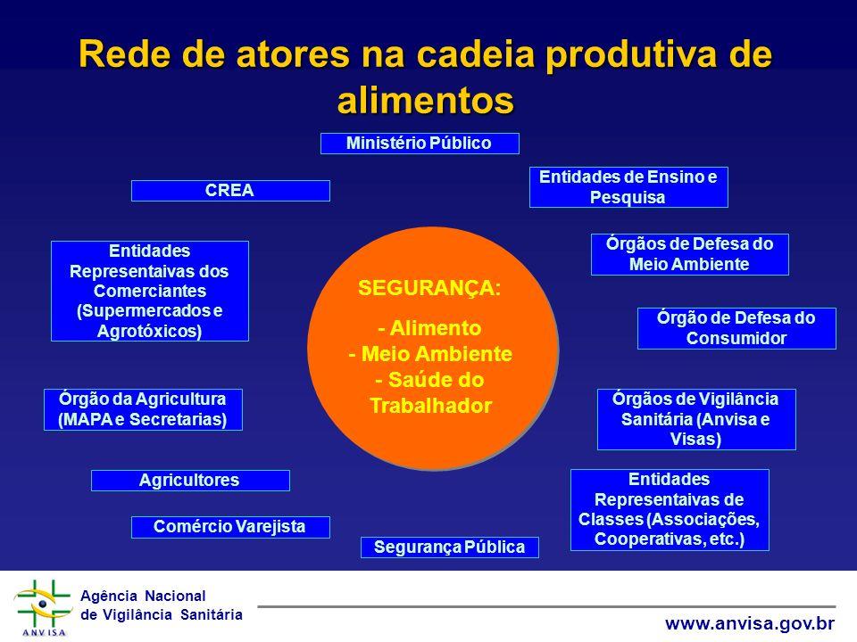 Agência Nacional de Vigilância Sanitária www.anvisa.gov.br Rede de atores na cadeia produtiva de alimentos Entidades Representaivas de Classes (Associ