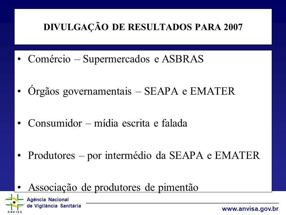 Agência Nacional de Vigilância Sanitária www.anvisa.gov.br DIVULGAÇÃO DE RESULTADOS PARA 2007 Comércio – Supermercados e ASBRAS Órgãos governamentais