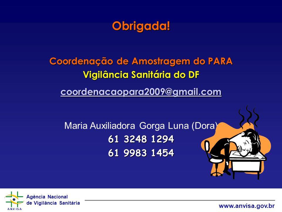 Agência Nacional de Vigilância Sanitária www.anvisa.gov.br Obrigada! Coordenação de Amostragem do PARA Vigilância Sanitária do DF coordenacaopara2009@