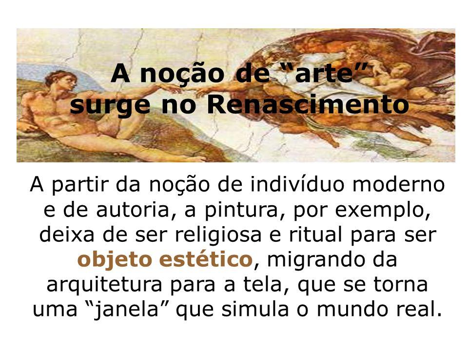 A partir da noção de indivíduo moderno e de autoria, a pintura, por exemplo, deixa de ser religiosa e ritual para ser objeto estético, migrando da arq