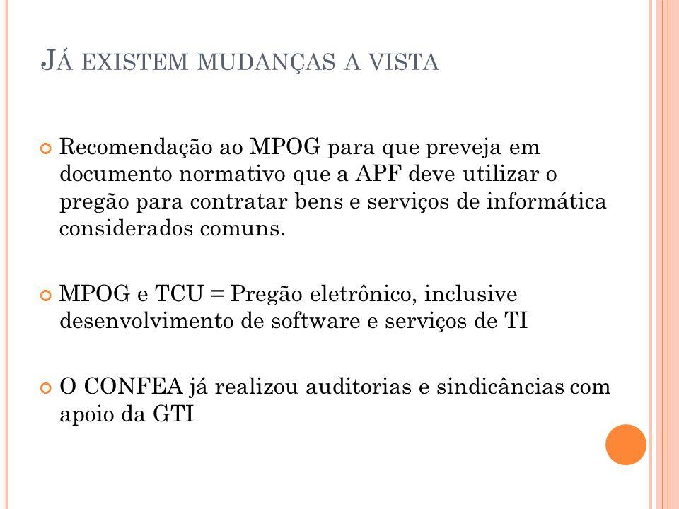 J Á EXISTEM MUDANÇAS A VISTA Recomendação ao MPOG para que preveja em documento normativo que a APF deve utilizar o pregão para contratar bens e servi