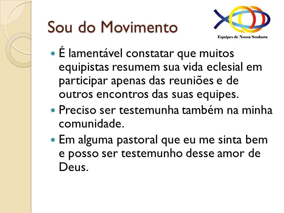 Sou do Movimento É lamentável constatar que muitos equipistas resumem sua vida eclesial em participar apenas das reuniões e de outros encontros das su
