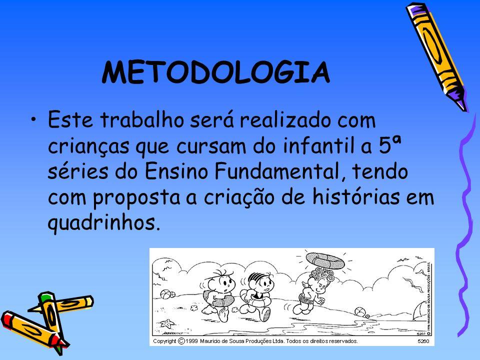 METODOLOGIA Este trabalho será realizado com crianças que cursam do infantil a 5ª séries do Ensino Fundamental, tendo com proposta a criação de histór