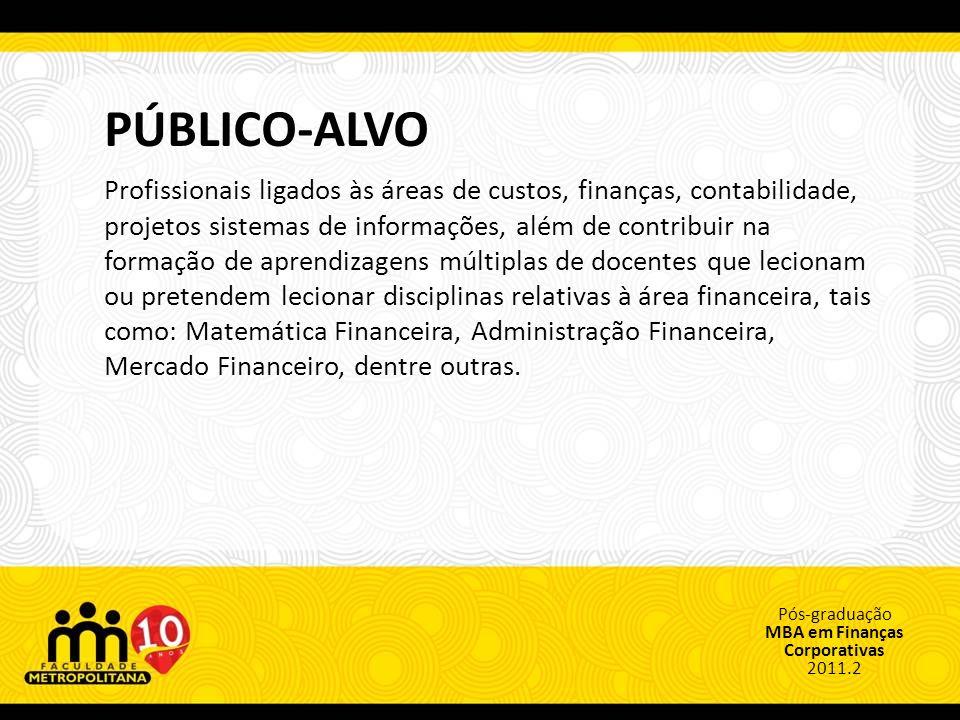 Pós-graduação MBA em Finanças Corporativas 2011.2 PROGRAMA DO CURSO Disciplina Matemática Financeira e Análise de Investimentos Contabilidade Empresarial Finanças Corporativas I (Análise de Curto Prazo) Mercado Financeiro Governança Corporativa Finanças Corporativas II (Análise de Longo Prazo) Gestão de Custos Gestão de Projetos Econômicos Análise Econômico-Financeira Sistemas de Informações Gerenciais Empreendedorismo Metodologia da Pesquisa Científica Trabalho de Conclusão de Curso Docência do Ensino Superior (1) Carga Horária 32 30 (1) Disciplina optativa