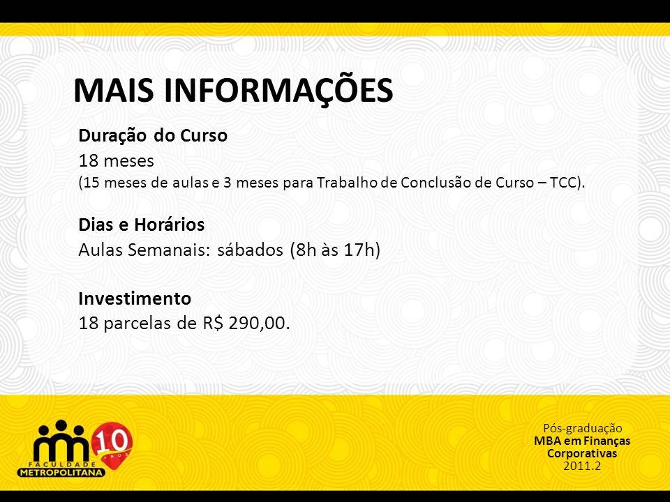 Pós-graduação MBA em Finanças Corporativas 2011.2 CORPO DOCENTE Augusto Dornelas - MSC.