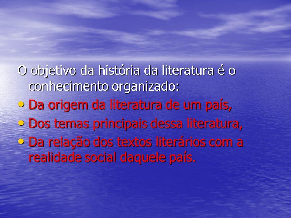 Esse processo todo vale para o conjunto de obras literárias escritas na língua de um país. Quando estudamos sistematicamente esse conjunto de obras, c