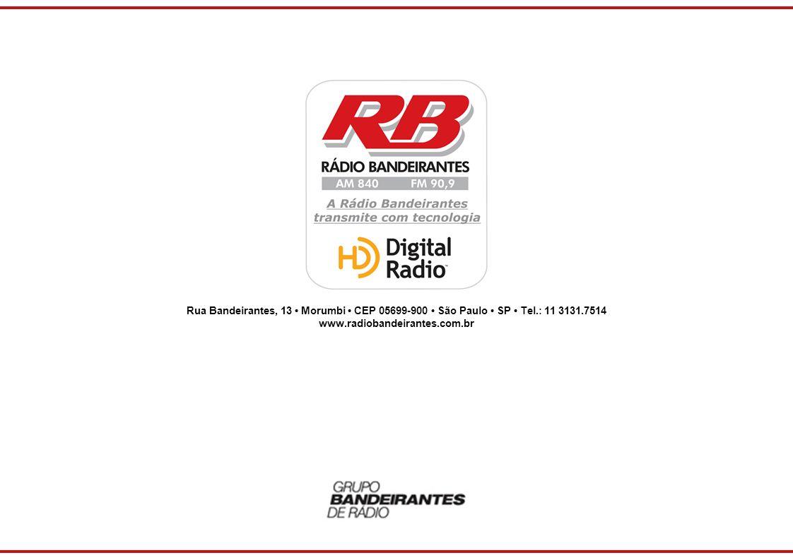 Rua Bandeirantes, 13 Morumbi CEP 05699-900 São Paulo SP Tel.: 11 3131.7514 www.radiobandeirantes.com.br
