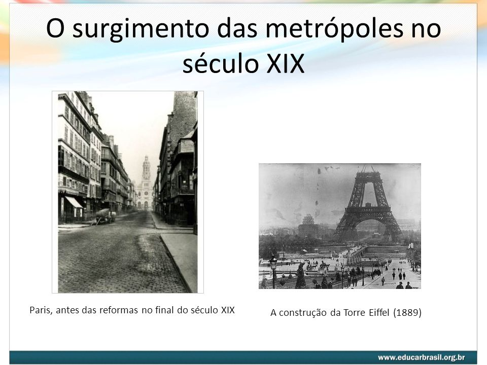 O surgimento das metrópoles no século XIX Paris, antes das reformas no final do século XIX A construção da Torre Eiffel (1889)