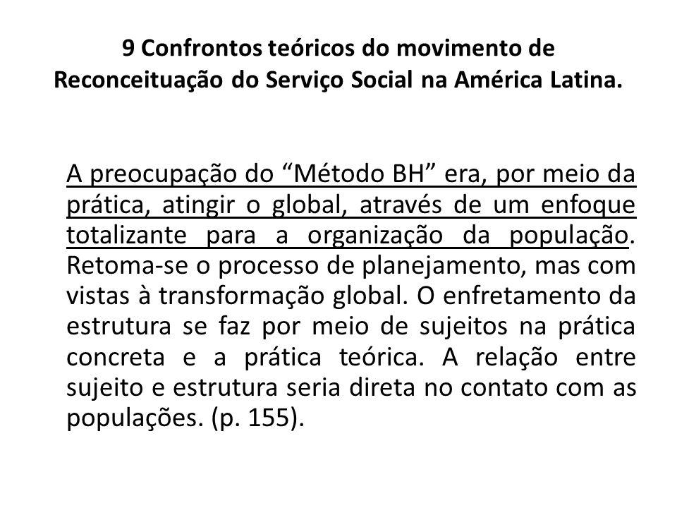 9 Confrontos teóricos do movimento de Reconceituação do Serviço Social na América Latina. A preocupação do Método BH era, por meio da prática, atingir