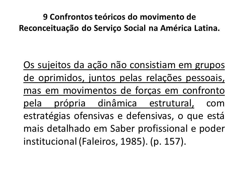 9 Confrontos teóricos do movimento de Reconceituação do Serviço Social na América Latina. Os sujeitos da ação não consistiam em grupos de oprimidos, j