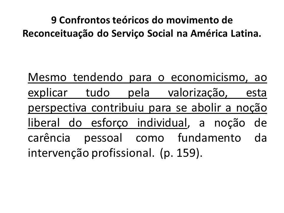 9 Confrontos teóricos do movimento de Reconceituação do Serviço Social na América Latina. Mesmo tendendo para o economicismo, ao explicar tudo pela va