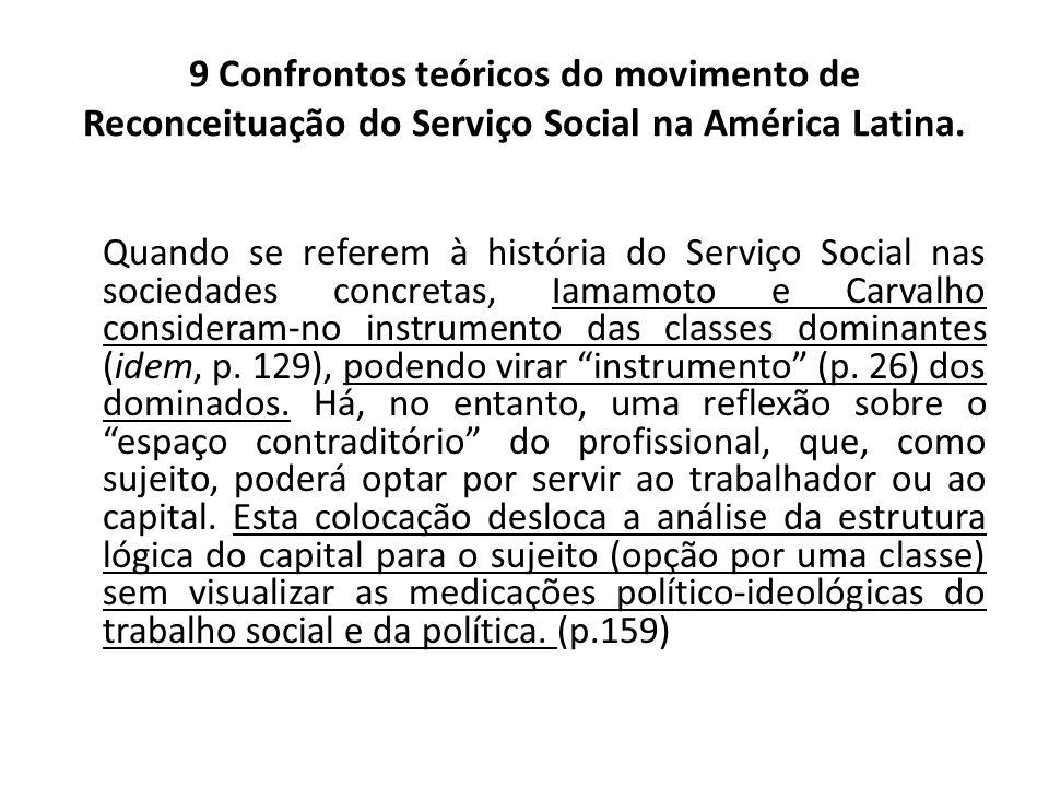 9 Confrontos teóricos do movimento de Reconceituação do Serviço Social na América Latina. Quando se referem à história do Serviço Social nas sociedade