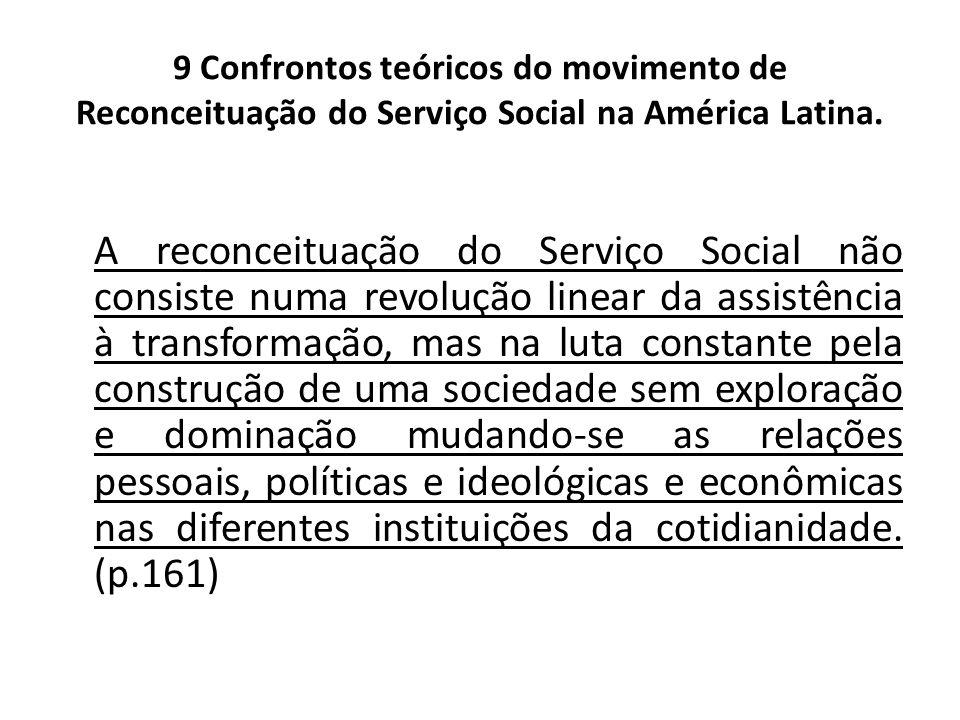 9 Confrontos teóricos do movimento de Reconceituação do Serviço Social na América Latina. A reconceituação do Serviço Social não consiste numa revoluç
