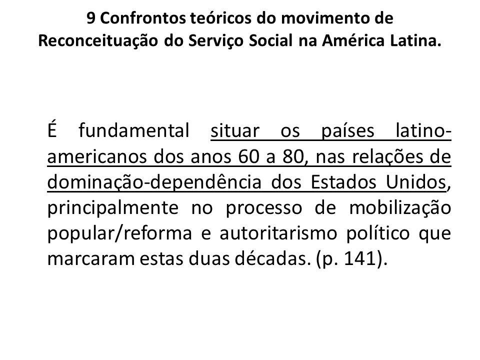 9 Confrontos teóricos do movimento de Reconceituação do Serviço Social na América Latina. É fundamental situar os países latino- americanos dos anos 6