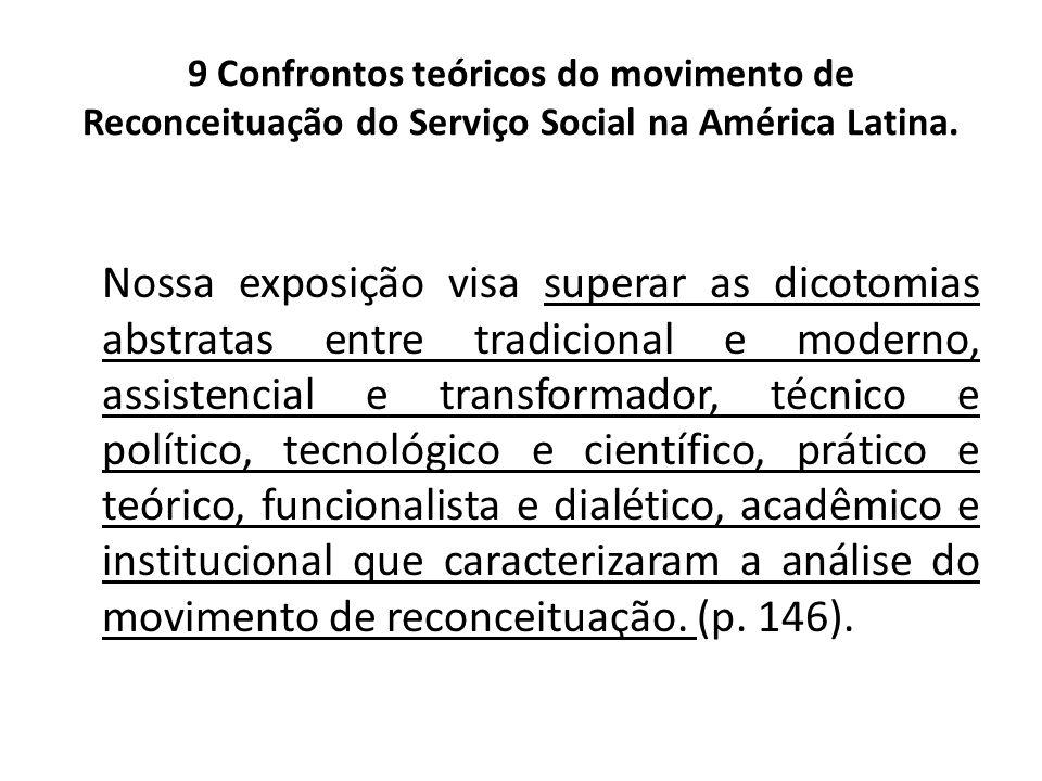9 Confrontos teóricos do movimento de Reconceituação do Serviço Social na América Latina. Nossa exposição visa superar as dicotomias abstratas entre t