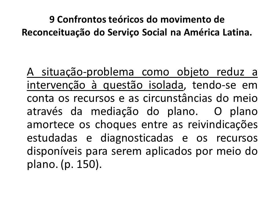 9 Confrontos teóricos do movimento de Reconceituação do Serviço Social na América Latina. A situação-problema como objeto reduz a intervenção à questã
