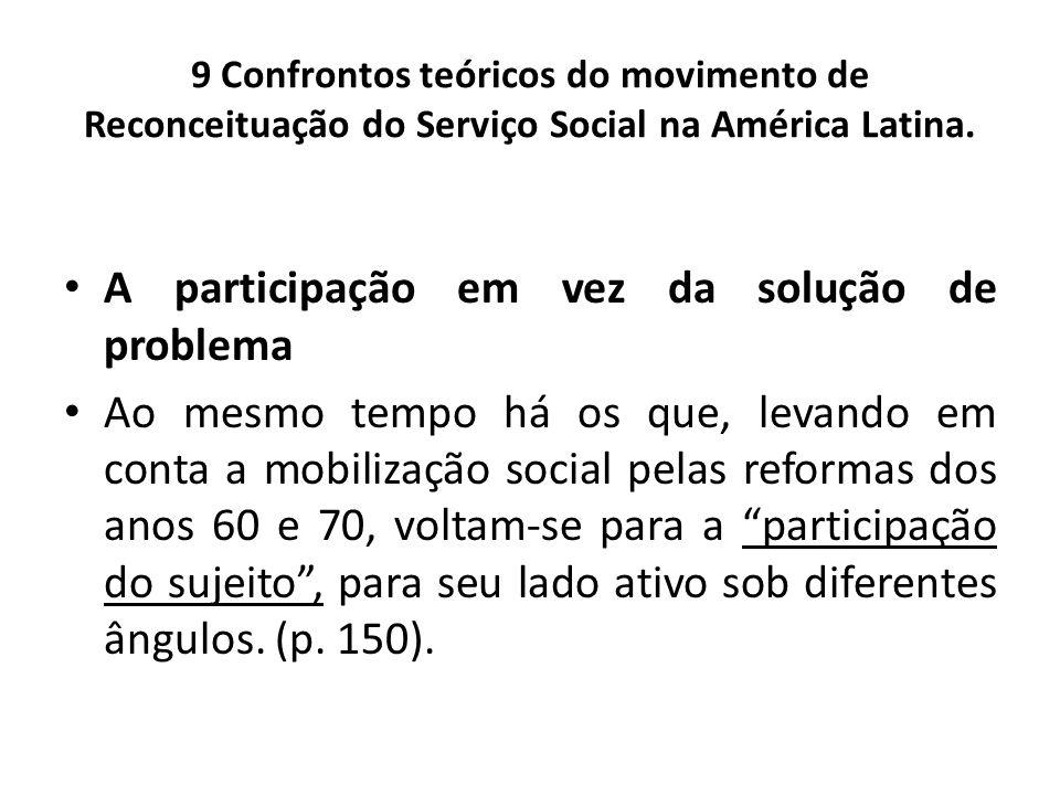 9 Confrontos teóricos do movimento de Reconceituação do Serviço Social na América Latina. A participação em vez da solução de problema Ao mesmo tempo