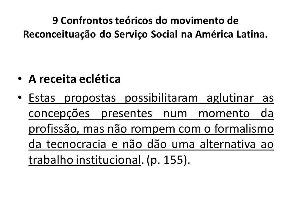 9 Confrontos teóricos do movimento de Reconceituação do Serviço Social na América Latina. A receita eclética Estas propostas possibilitaram aglutinar
