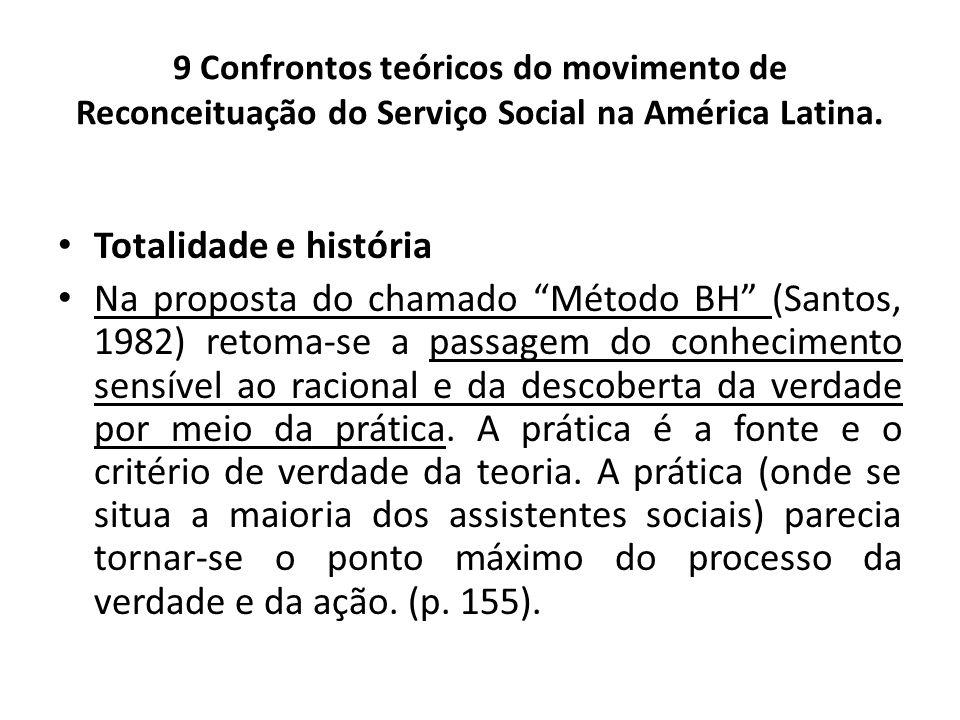 9 Confrontos teóricos do movimento de Reconceituação do Serviço Social na América Latina. Totalidade e história Na proposta do chamado Método BH (Sant