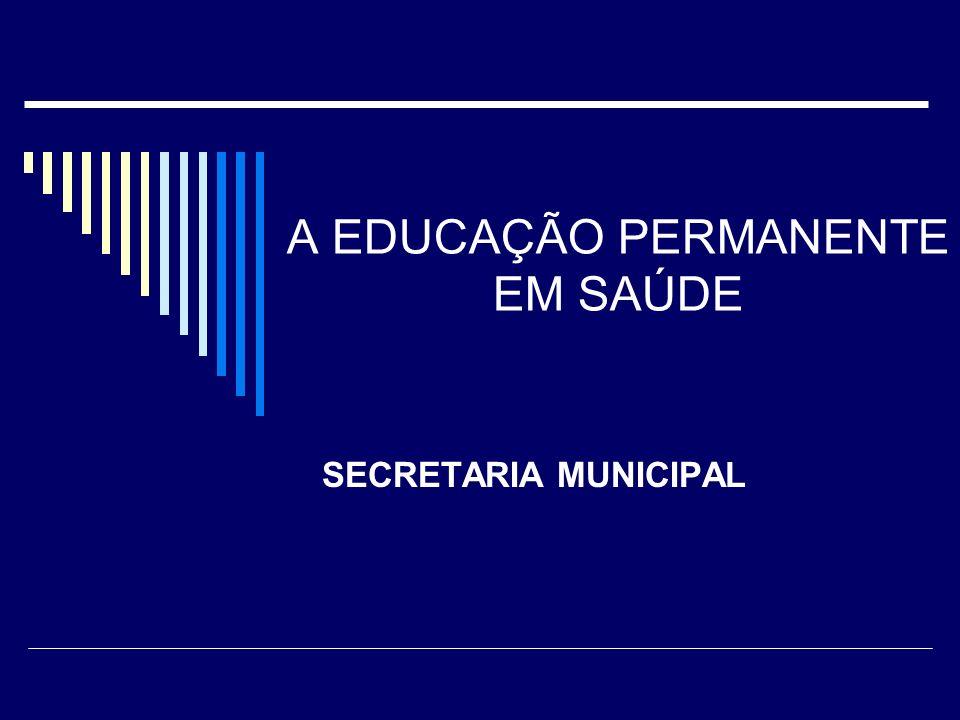 Principais Legislações que regem a Educação Permanente em Saúde : 8ª Conferência Nacional de Saúde - 1986 Constituição Brasileira de 1988 Lei 8080, de 19 de setembro de 1990 Portaria nº.198, de 13 de fevereiro de 2004 Pacto pela Saúde - Portaria 399, de 22 de fevereiro de 2006 Portaria nº.1996, de 22 de agosto de 2007