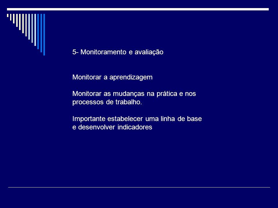 5- Monitoramento e avaliação Monitorar a aprendizagem Monitorar as mudanças na prática e nos processos de trabalho. Importante estabelecer uma linha d