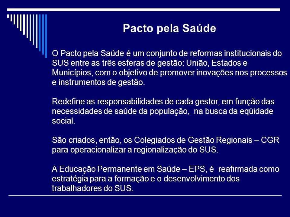 Pacto pela Saúde O Pacto pela Saúde é um conjunto de reformas institucionais do SUS entre as três esferas de gestão: União, Estados e Municípios, com