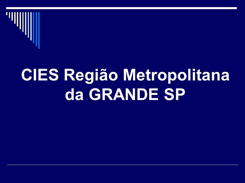 Colegiados de Gestão RegionalPopulação (IBGE-2007) Alto do Tiete (10 municípios)1.524.603 Franco da Rocha (5 municípios) 544.586 Guarulhos (1 municípios) 1.315.059 Mananciais ( 8 municípios) 1.002.337 Rota dos Bandeirantes (7 municípios) 1.842.868 ABC Paulista (7 municípios) 2.