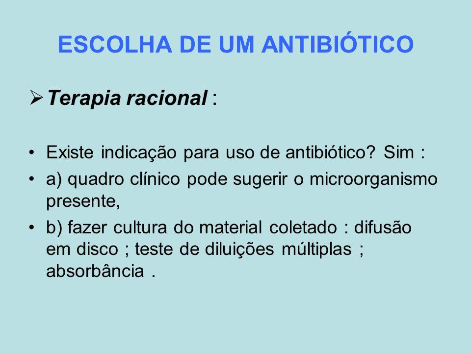 ESCOLHA DE UM ANTIBIÓTICO Terapia racional : Existe indicação para uso de antibiótico? Sim : a) quadro clínico pode sugerir o microorganismo presente,