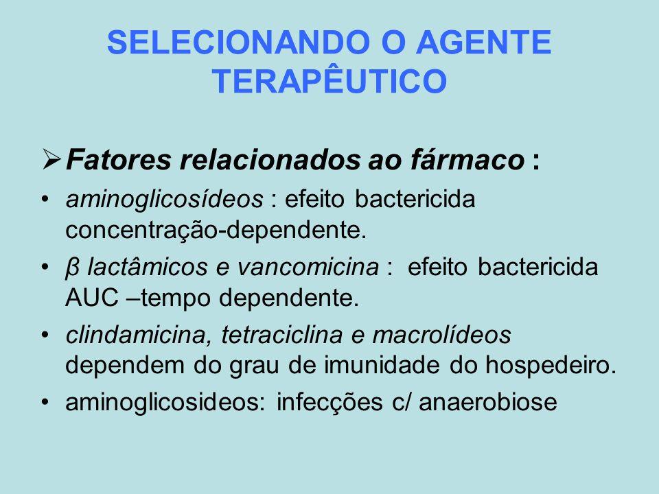 SELECIONANDO O AGENTE TERAPÊUTICO Fatores relacionados ao fármaco : aminoglicosídeos : efeito bactericida concentração-dependente. β lactâmicos e vanc