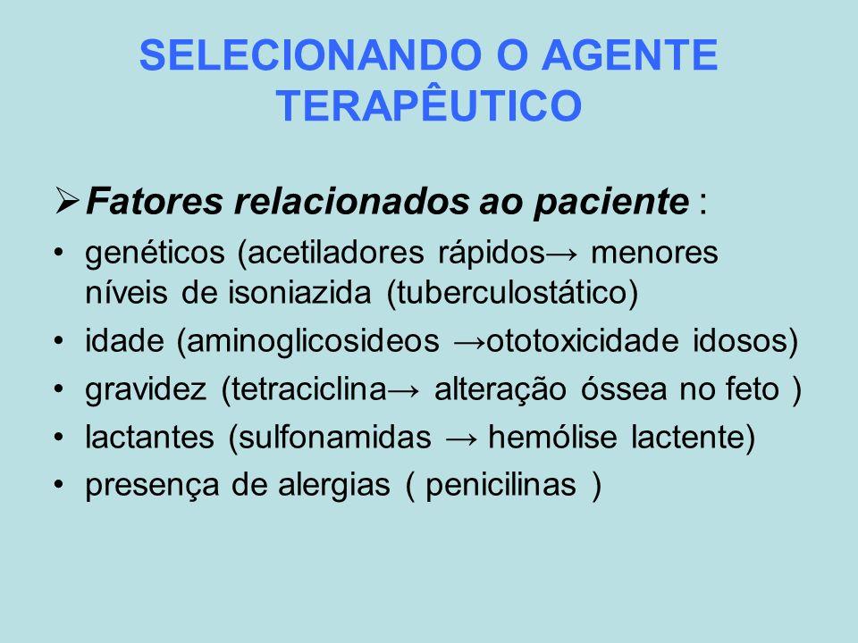 SELECIONANDO O AGENTE TERAPÊUTICO Fatores relacionados ao paciente : genéticos (acetiladores rápidos menores níveis de isoniazida (tuberculostático) i