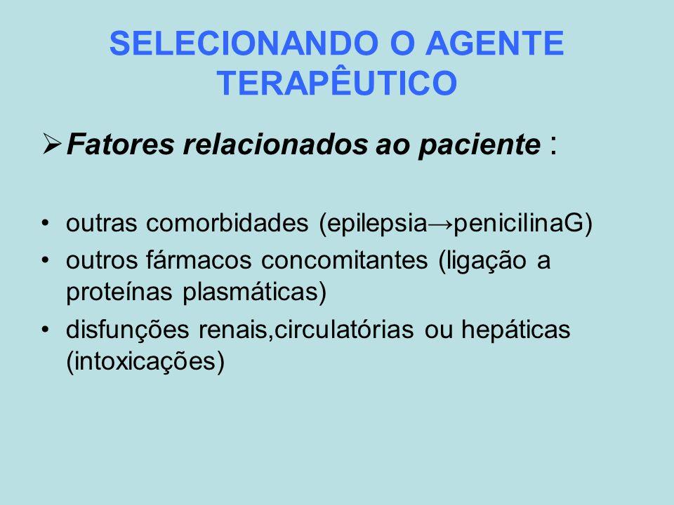 SELECIONANDO O AGENTE TERAPÊUTICO Fatores relacionados ao paciente : outras comorbidades (epilepsiapenicilinaG) outros fármacos concomitantes (ligação