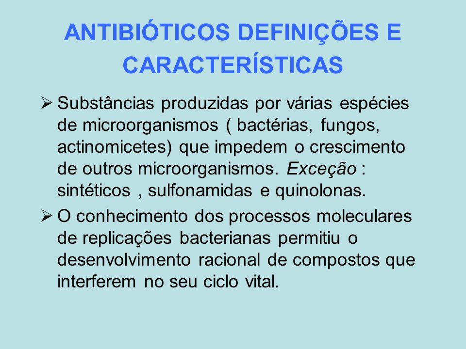 ANTIBIÓTICOS DEFINIÇÕES E CARACTERÍSTICAS Substâncias produzidas por várias espécies de microorganismos ( bactérias, fungos, actinomicetes) que impede