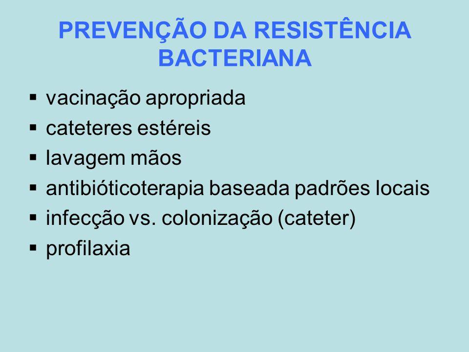 PREVENÇÃO DA RESISTÊNCIA BACTERIANA vacinação apropriada cateteres estéreis lavagem mãos antibióticoterapia baseada padrões locais infecção vs. coloni