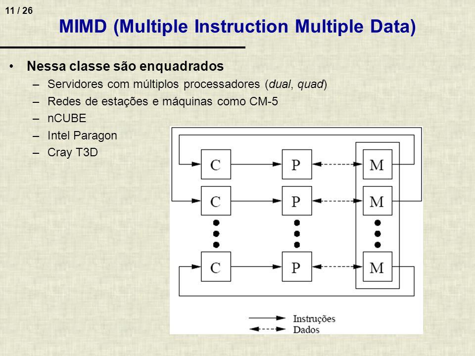 11 / 26 MIMD (Multiple Instruction Multiple Data) Nessa classe são enquadrados –Servidores com múltiplos processadores (dual, quad) –Redes de estações